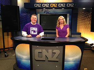 Mark Weber (Charlotte Media Chair) interviews Shannon Gardner (Charlotte Volunteer Chair) on CN2 News in Rock Hill, S.C. about her mom's cancer journey and volunteering for PurpleStride.