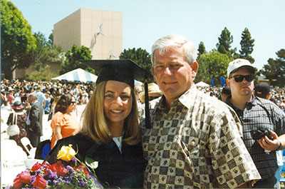 Julie Fleshman and her dad, Jim Fleshman, in 1997, University of California, Santa Barbara graduation.