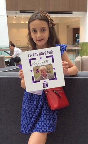 Stephanie, 10, advocates for change in honor of her uncle, Jim Fetty, who passed away from pancreatic cancer.