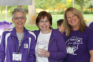 Diane Schooley-Pettis (center) with Lauren Kisse (left) and Patty Rowett-Matlock. The three are volunteer leaders with the Boise Affiliate of the Pancreatic Cancer Action Network.