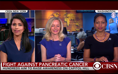 CBS New interviews Julie Fleshman, president and CEO of Pancreatic Cancer Action Network and survivor-volunteer Teona Ducre