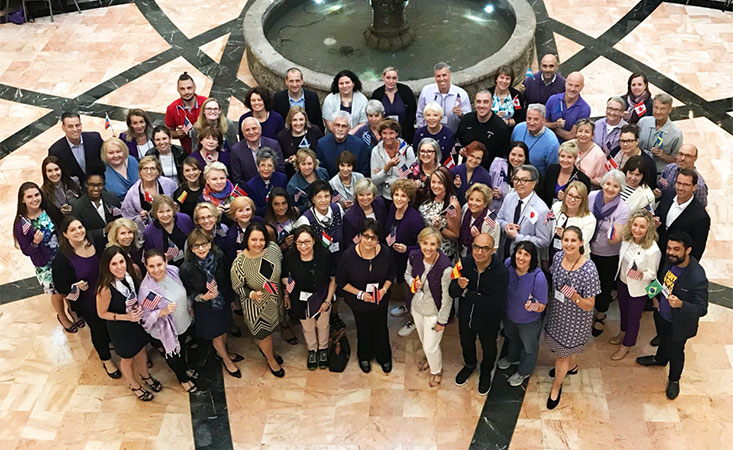 A meeting of 74 members of the World Pancreatic Cancer Coalition, representing 31 countries.