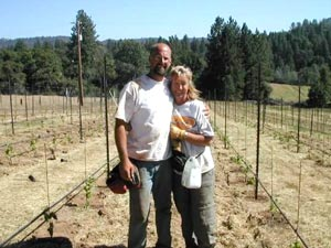 Husband and wife team in their vineyard, Baiocchi Wines, before her pancreatic cancer diagnosis.