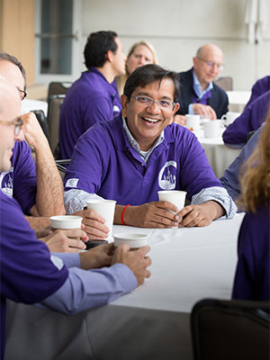 Anirban Maitra, MBBS, enjoys collaborating with other pancreatic cancer researchers.