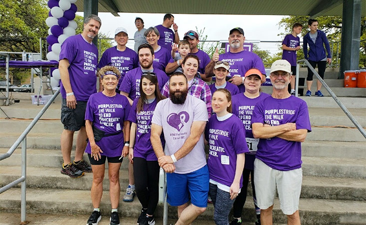Family gathers at PurpleStride Austin 2018, the walk to end pancreatic cancer