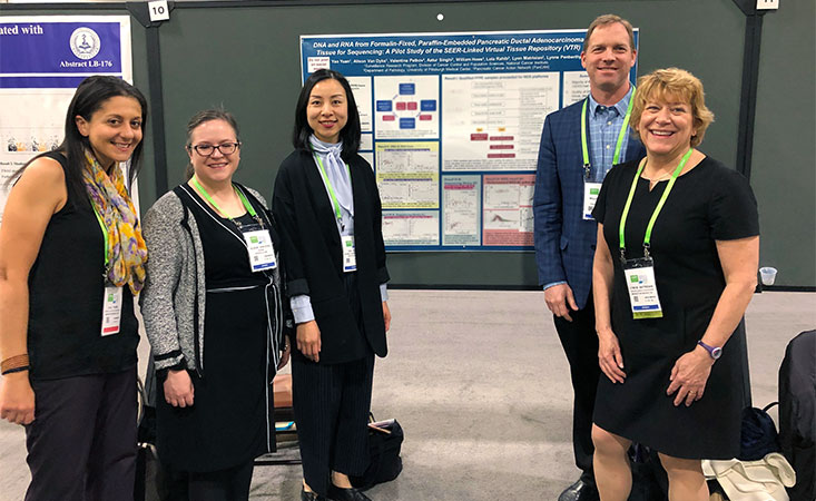 Researchers display a poster of pancreatic cancer research at the 2019 AACR Annual Meeting