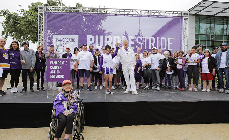 "Alex Trebek of ""Jeopardy"" on stage at PurpleStride Los Angeles"