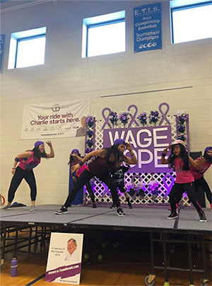 Dancers at a Zumba-themed fundraiser to support PurpleStride, the walk to end pancreatic cancer