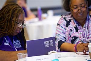 Volunteers during a networking session at the 2019 PanCAN national conference in Los Angeles