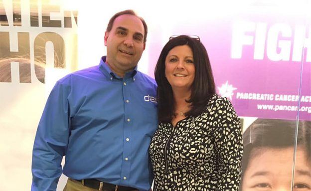 Philadelphia pancreatic cancer survivor with his wife at PanCAN national headquarters in L.A.