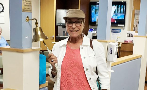 Stage 4 pancreatic cancer survivor rings bell after last chemotherapy treatment