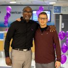 American Airlines employee Craig Irving with friend Adam Deal, a pancreatic cancer survivor