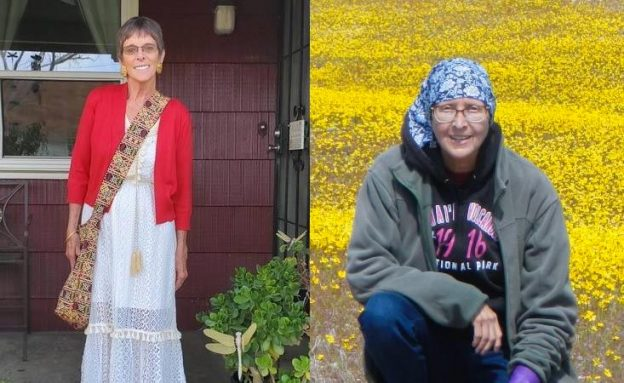 A pancreatic cancer survivor on her front porch and another among Mojave Desert wildflowers