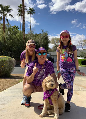 Pancreatic cancer fundraisers and their puppy walking safely in Las Vegas during COVID-19