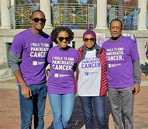 Family at PanCAN PurpleStride 5K walk in support of mother with pancreatic cancer