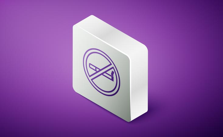 A purple no-smoking symbol shows it affects risk of diagnosis and death from pancreatic cancer