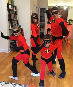 Pancreatic cancer survivor with her family at Halloween days before a stage IV diagnosis