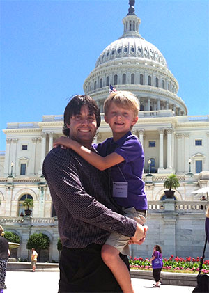 PanCAN youth advocate and father on Capitol Hill at PanCAN's Advocacy Day in 2012