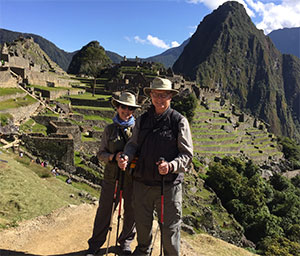 Pancreatic cancer survivor and wife in Machu Picchu