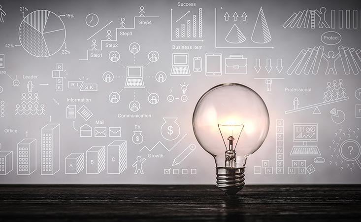 Lightbulb signifying bright idea for the study of pancreatic cancer