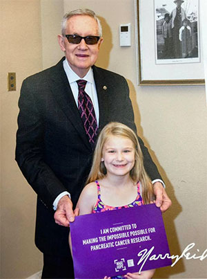 Young PanCAN advocate with Sen. Harry Reid of Nevada