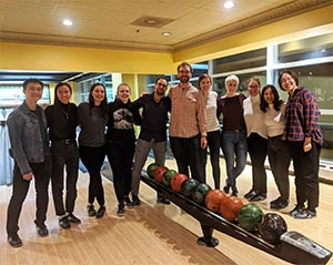 Pancreatic cancer research group's team-building activity at a bowling alley