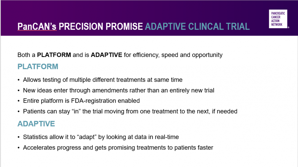 Characteristics of PanCAN's Precision Promise adaptive platform clinical trial