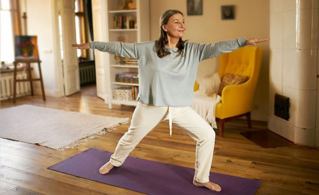 middle-aged woman doing yoga