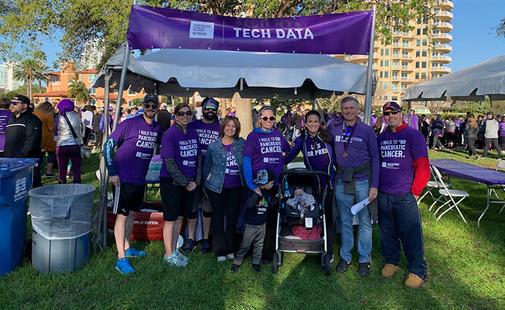 Doug Kelley (center back, smiling) was honored to become a PurpleStride 2020's Grand Club member.